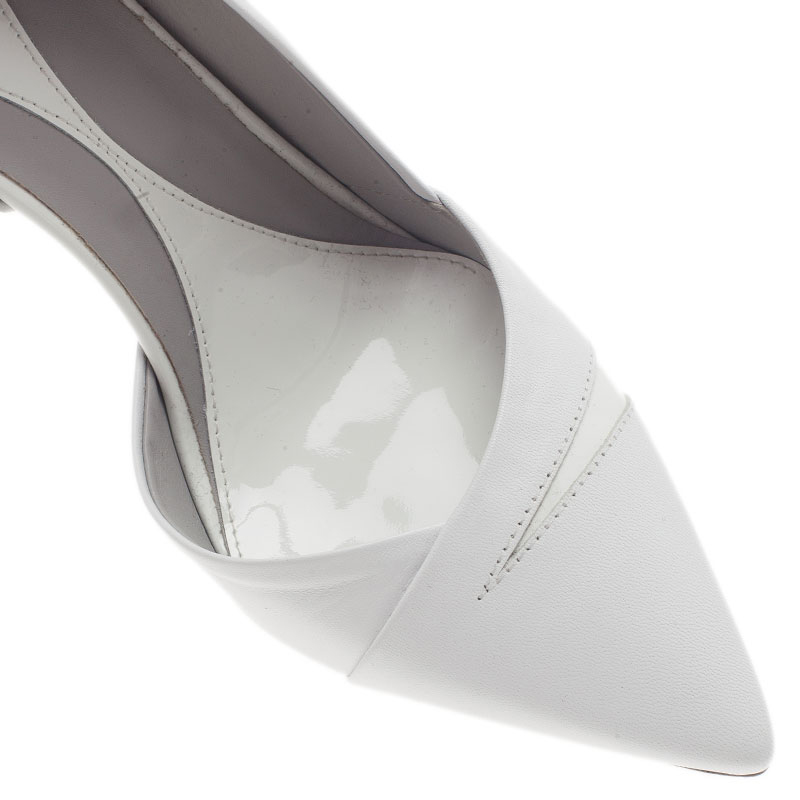 McQ by Alexander McQueen White Leather Lex D'orsay Pumps Size 39