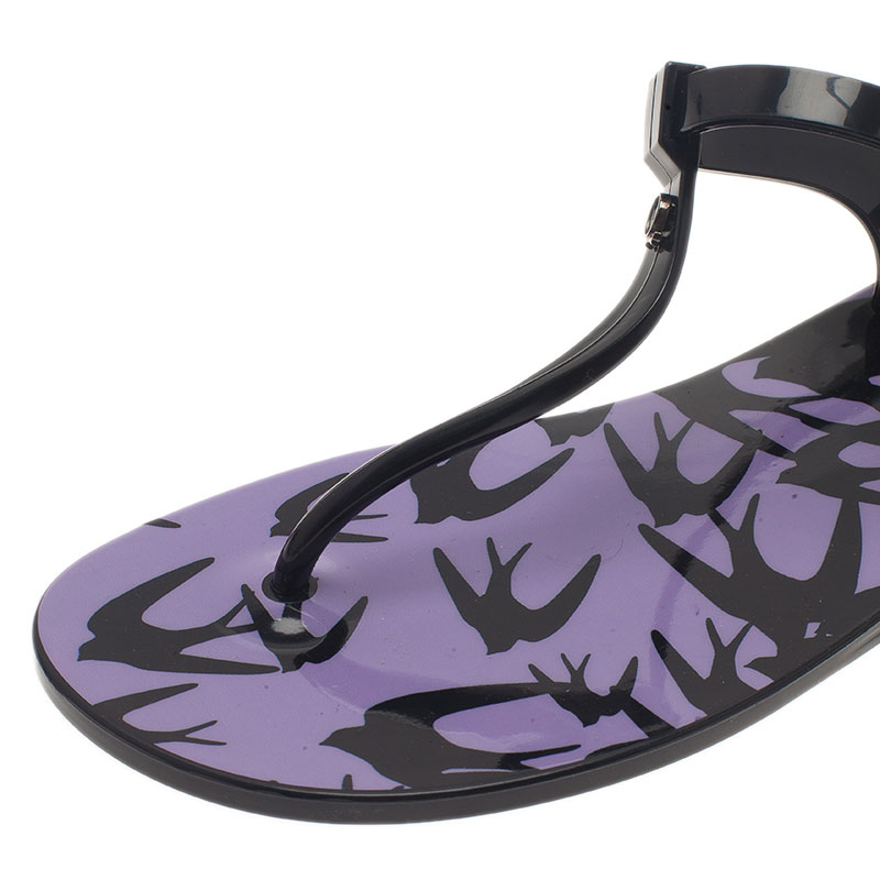 McQ by Alexander Mcqueen Black Swallow Print Jelly Sandals Size 39/40