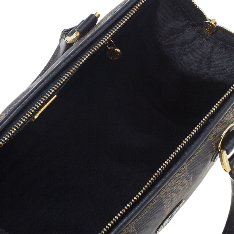 Fendi Black Pequin Tote Boston Bag