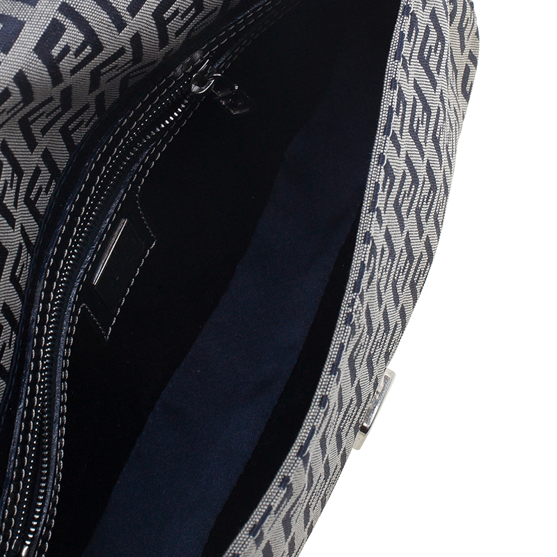 Fendi Black Zucchino Monogram Baguette