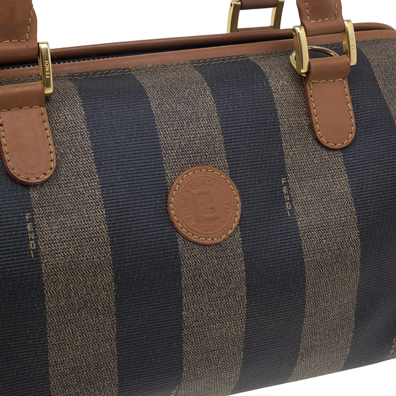 Fendi Brown Striped Pequin Canvas Vintage Boston Bag