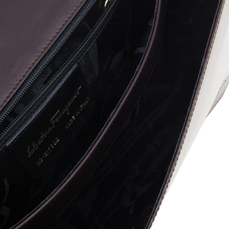 Salvatore Ferragamo Brown Flap Wood Shoulder Bag