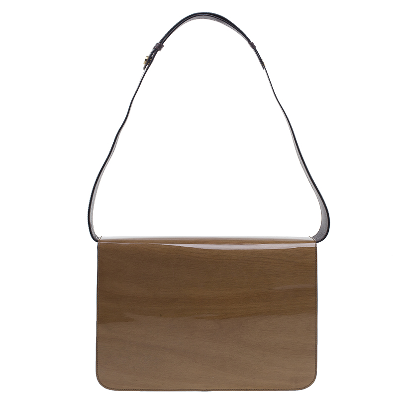 Salvatore Ferragamo Brown Flap Wood Shoulder Bag