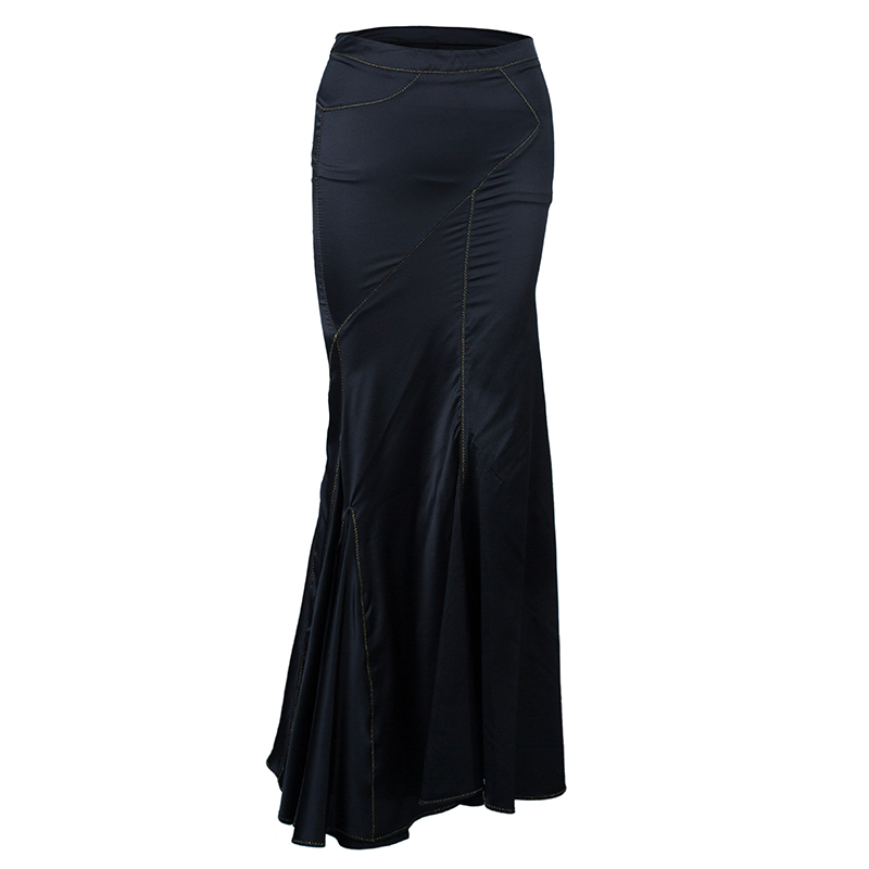 Just Cavalli Black Satin Fishtail Maxi Skirt S