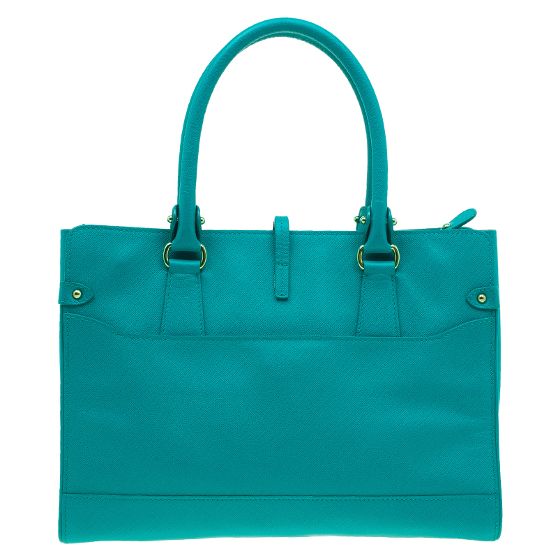 Salvatore Ferragamo Green Leather Medium Briana Tote