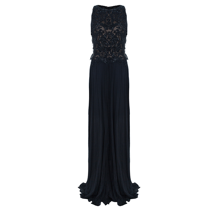 Tadashi Shoji Black Bead Embellished Gown L