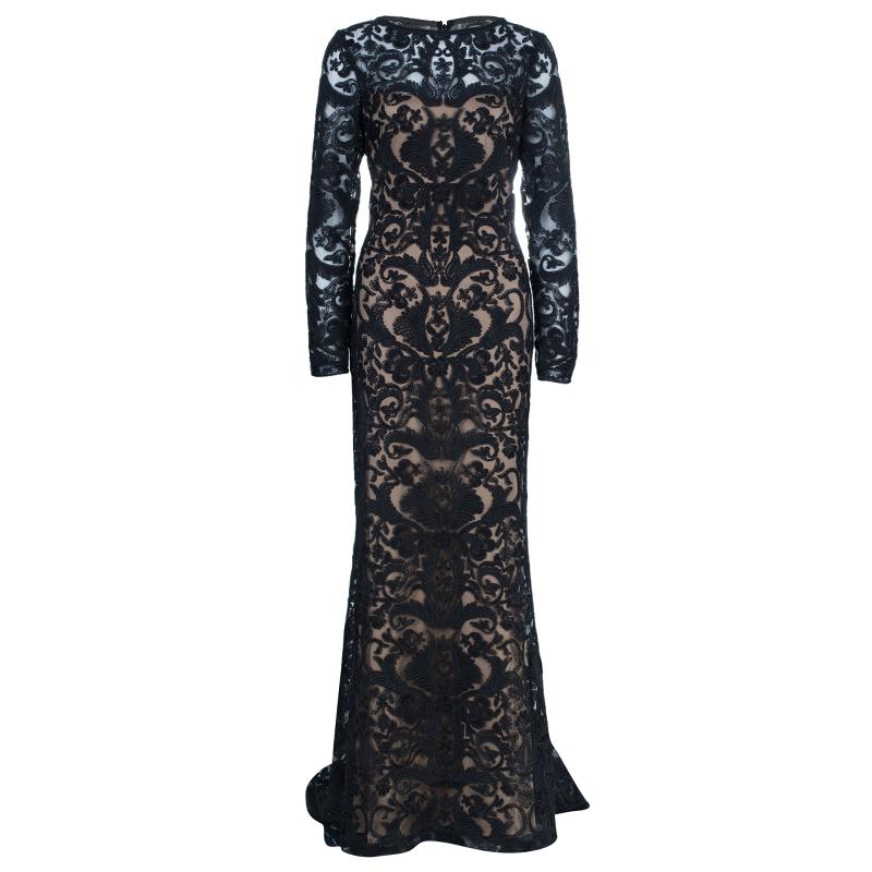 Tadashi Black Zardosi Embroidered Lace Dress M