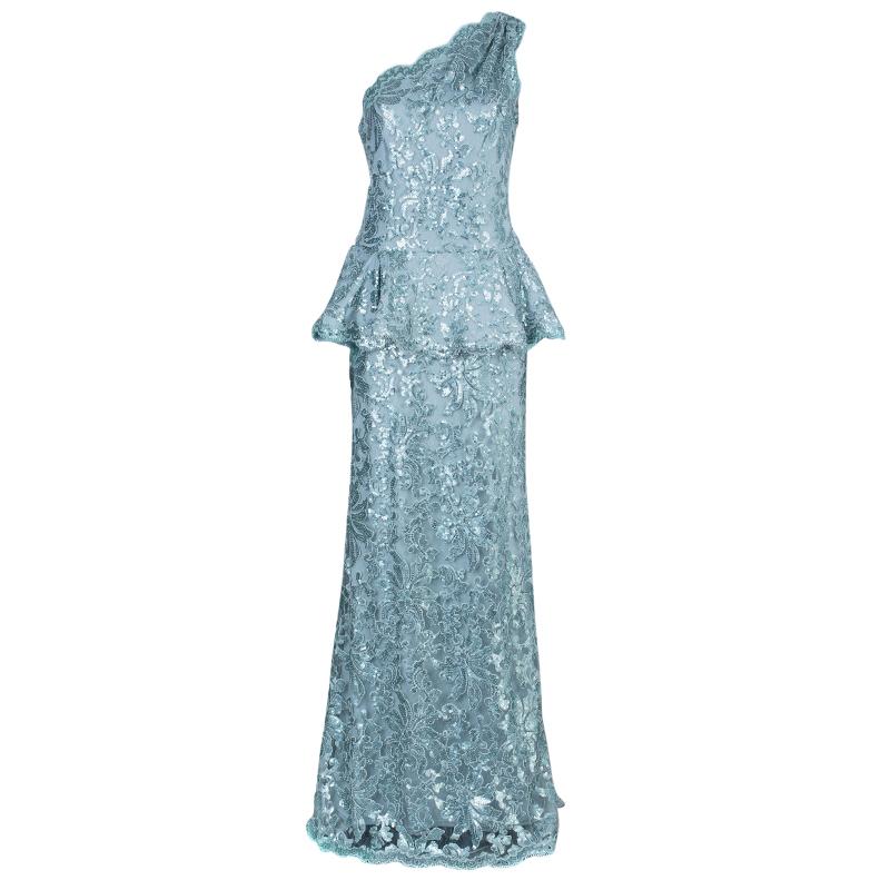 Tadashi Shoji Ice Sequin Embellished Peplum Gown