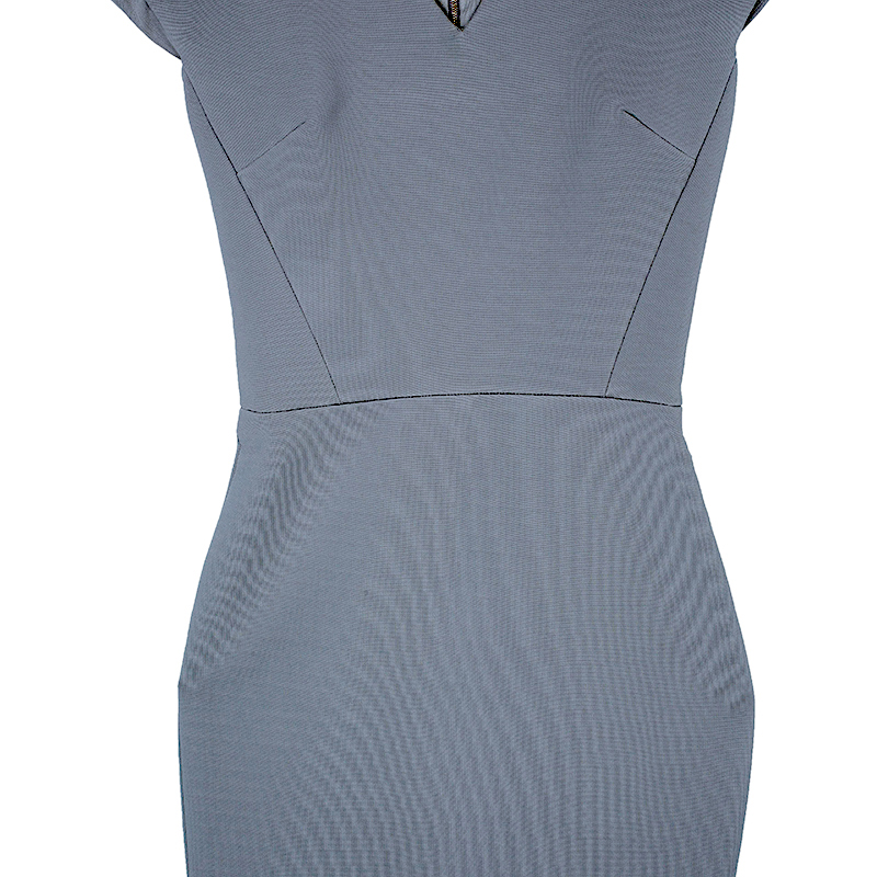 Victoria Beckham Dove Grey V-Neck Cap Sleeve Fitted Dress S