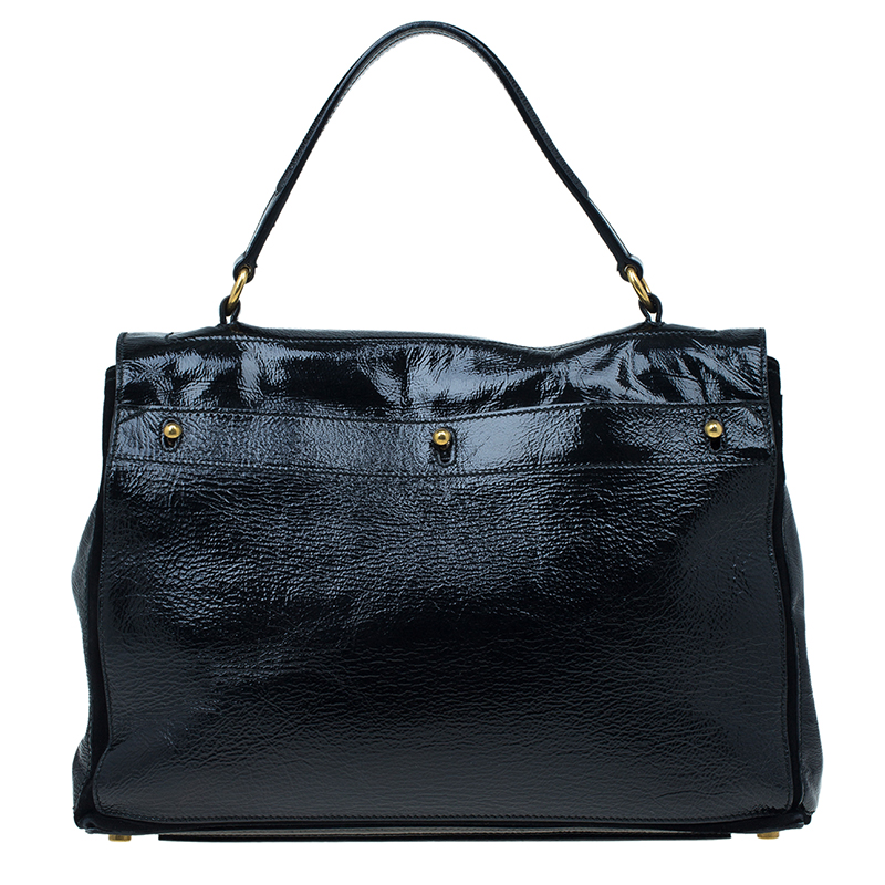 Saint Laurent Paris Black Patent Large Muse Two Tote