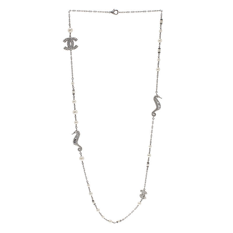 Chanel CC Seahorse Faux Pearl Cystal Necklace