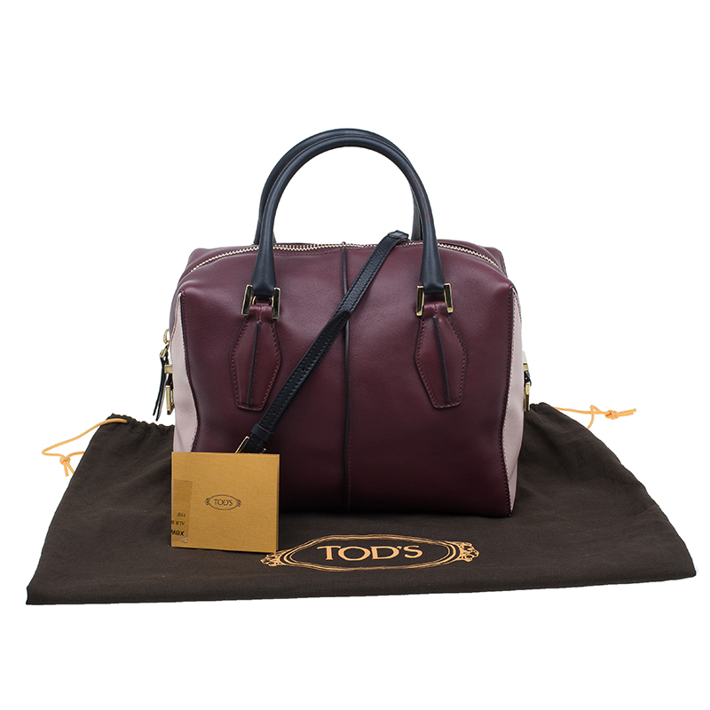 Tod's Burgundy/Pink Leather Small D-Cube Bowler Bag