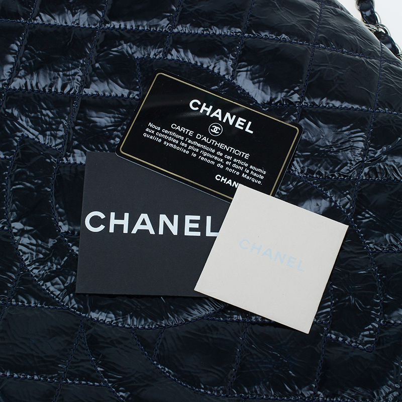Chanel Ink Blue Glazed Crackled Leather Giant Flap Bag