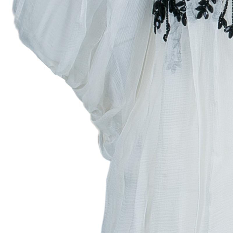 Dior White Beaded Chiffon Top M