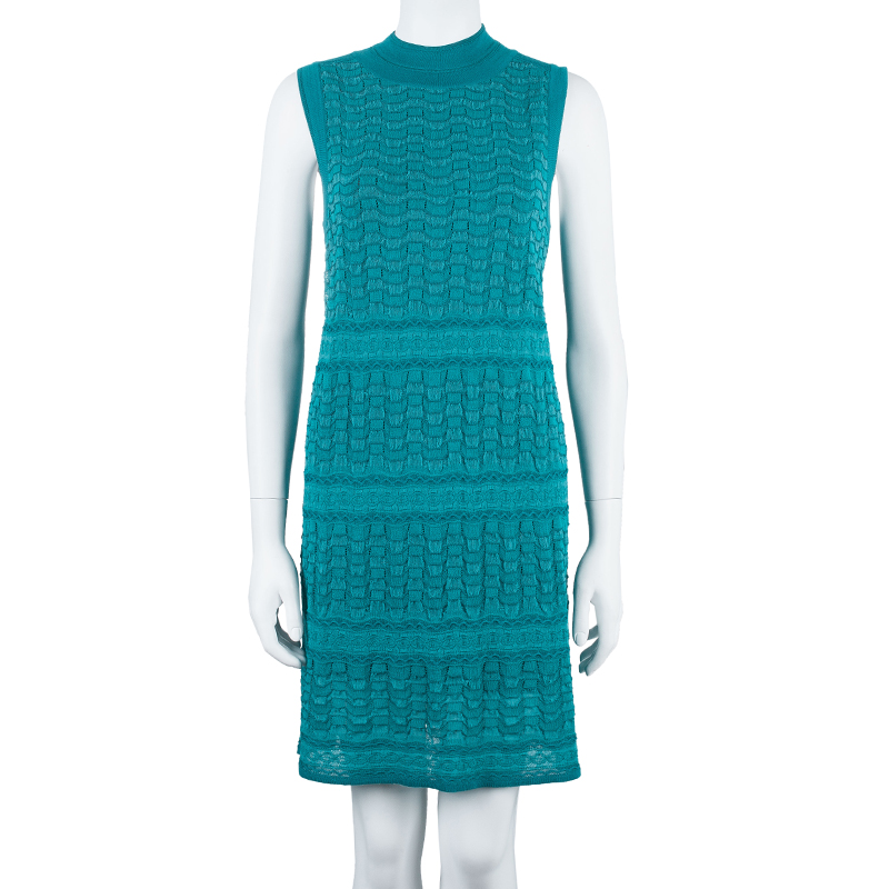 M Missoni Blue Knit Dress And Cardigan Set M