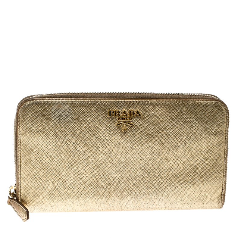 6ef32a42996 ... shop prada gold saffiano metal leather zip around wallet buy sell lc  cbd54 07d2c