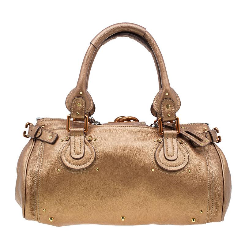 Chloe Bronze Leather Medium Paddington Satchel Bag