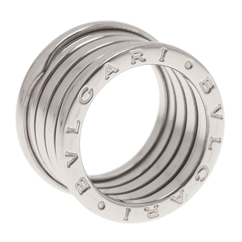 Bvlgari B.Zero1 4-Band 18K White Gold Ring Size 52