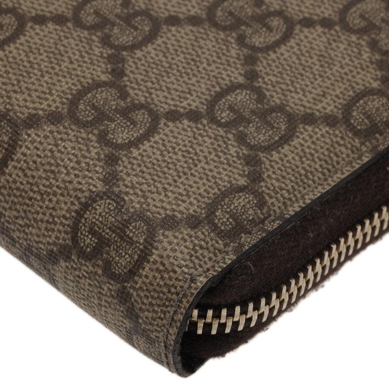Gucci Beige Guccissima Supreme Canvas Zip Around Wallet