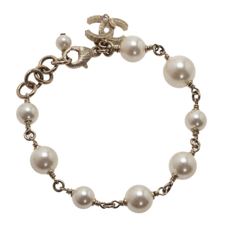 Chanel CC Faux Pearl Gold Tone Bracelet