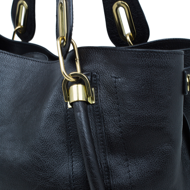 Chloe Black Leather Paraty Shopper Tote