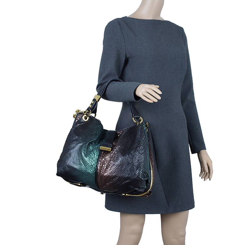 Jimmy Choo Two Shaded Python Ayse Shoulder Bag