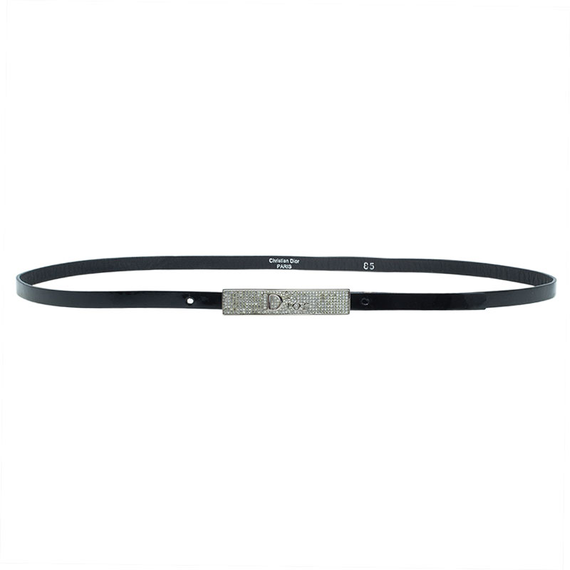 Dior Black Patent Leather Skinny Belt 85 CM