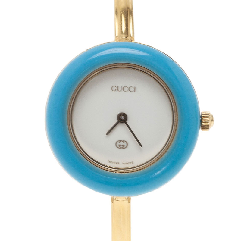 Gucci White Gold-Plated Stainless Steel 11/12 Women's Wristwatch 24MM
