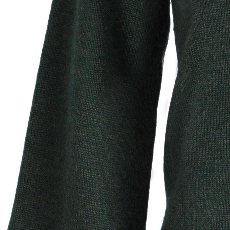 CH Carolina Herrera Green Raccoon Fur Trim Sweater S