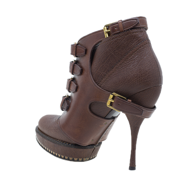 Dior Brown Leather Cavaliere Platform Ankle Boots Size 37
