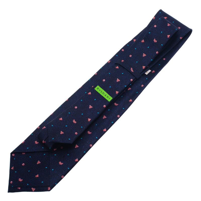 Bvlgari Blue Pattern Silk Tie