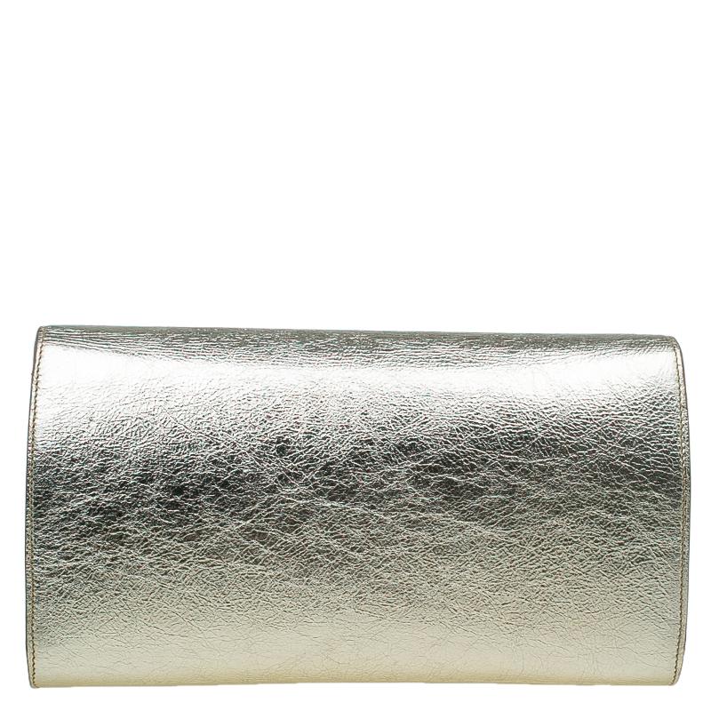 Saint Laurent Paris Gold Leather Belle De Jour Flap Clutch