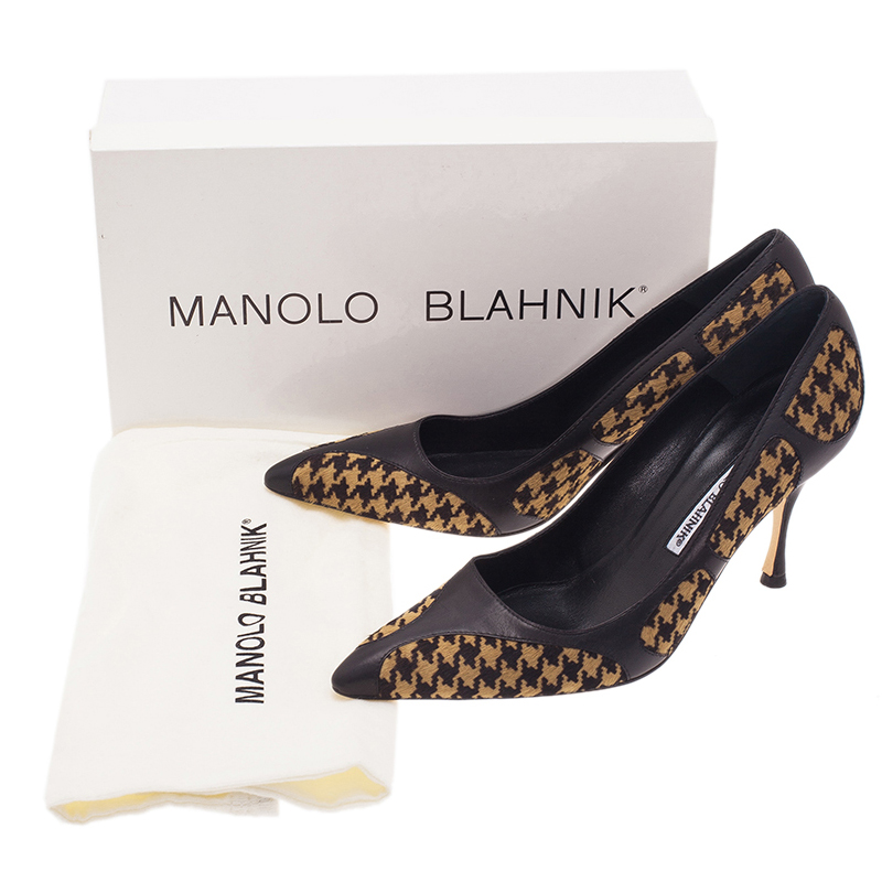 Manolo Blahnik Beige Vector Pattern Pony Hair Pumps Size 38