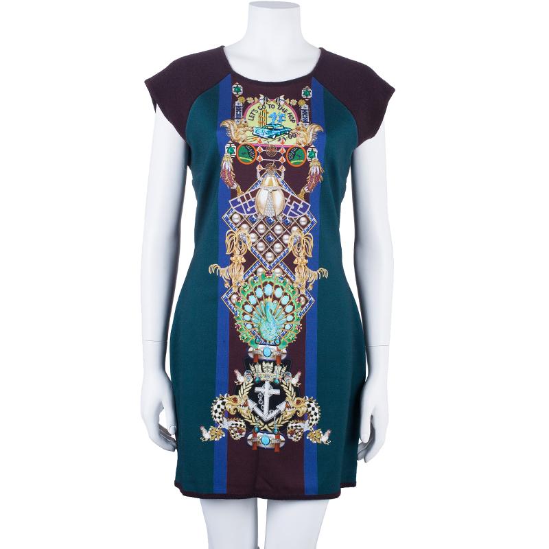 Mary Katrantzou Knipi Printed Jersey Paneled Ribbed Knit Dress L