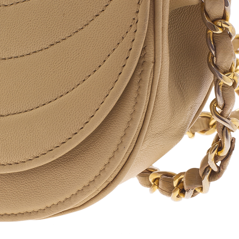 Chanel Cream Vintage Leather Moon Shaped Curved Horizontal Flap Bag