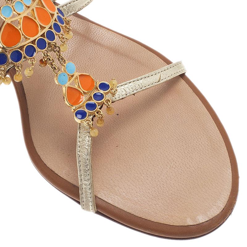 Giuseppe Zanotti Gold Leather Jeweled T-Strap Sandals Size 40