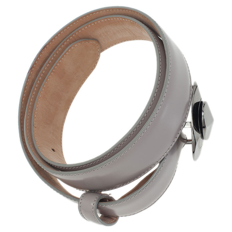 Dior Grey Leather Belt 85 CM