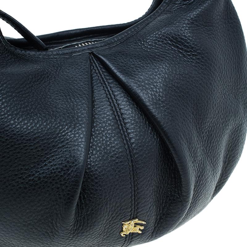 Burberry Black Pebbled Leather Small Malika Hobo