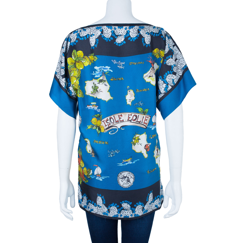 Dolce And Gabbana Isole Eolie Printed Silk Oversize Top XS