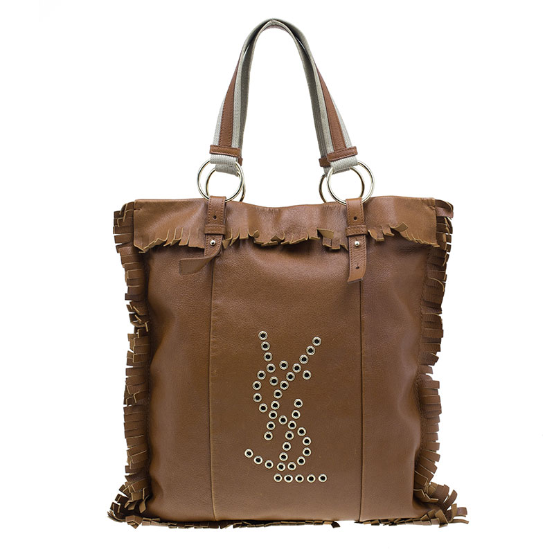 Saint Laurent Paris Brown Leather Fringe Grommet Signature Tote