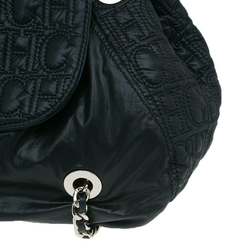 Carolina Herrera Black Monogram Nylon Drawstring Flap Bag
