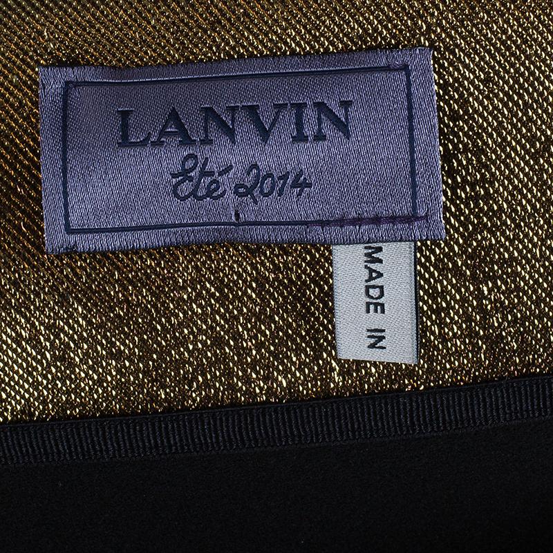 Lanvin Gold Lame One-Shoulder Dress S