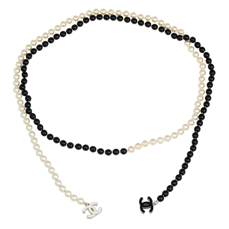 chanel cc black and white beaded lariat necklace