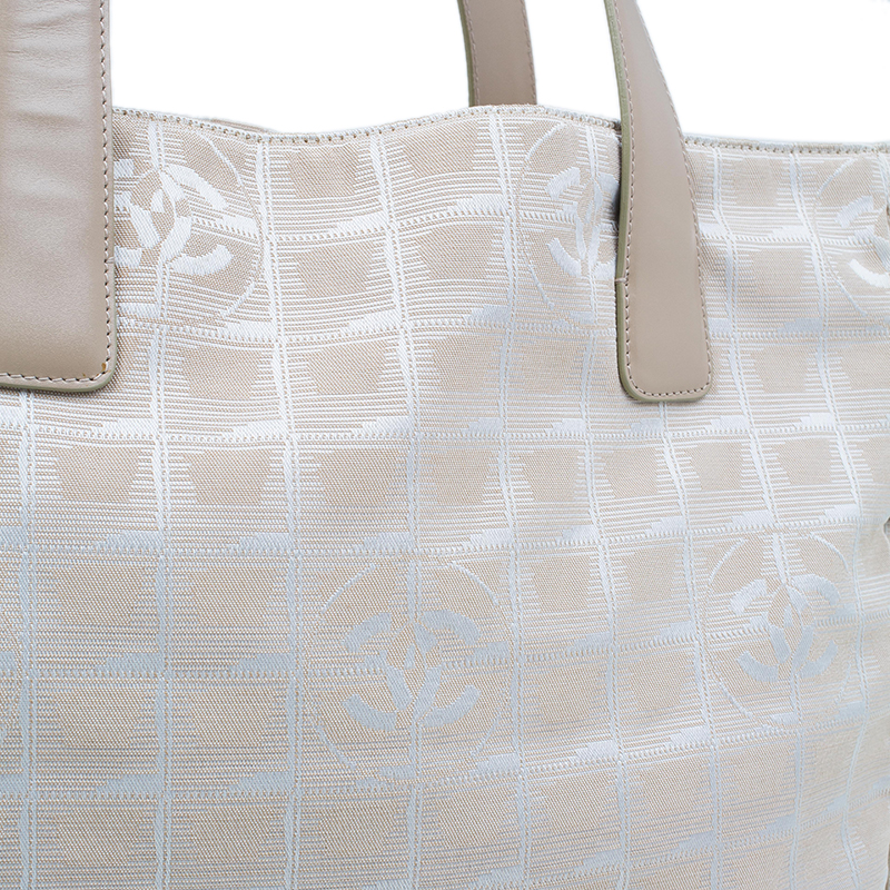 Chanel Beige Nylon Large Travel Ligne Tote Bag
