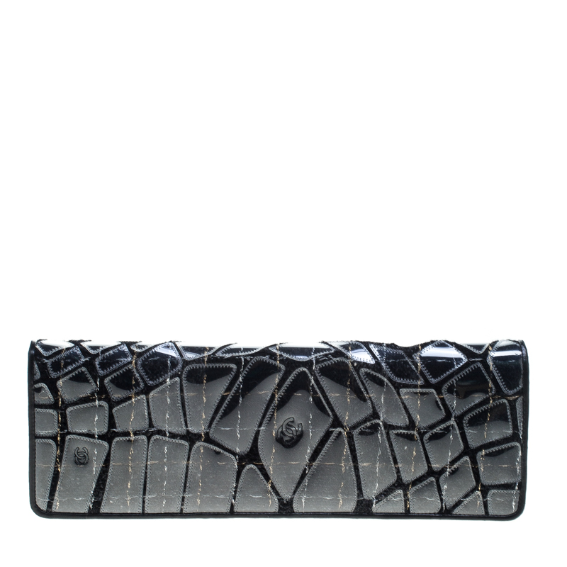 Chanel Black Leather/PVC and Tweed Long Flap Clutch