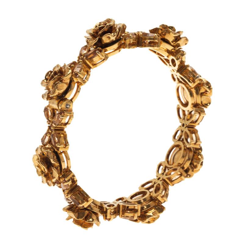 Prada Rose Gold Tone Crystal Bracelet