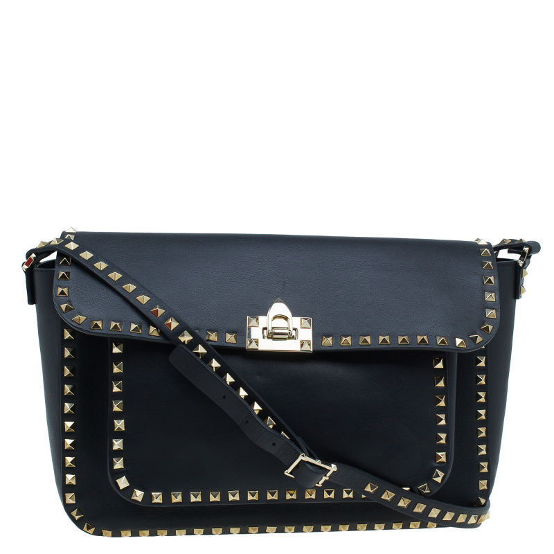 Valentino Black Leather RockStud Flap Crossbody Bag