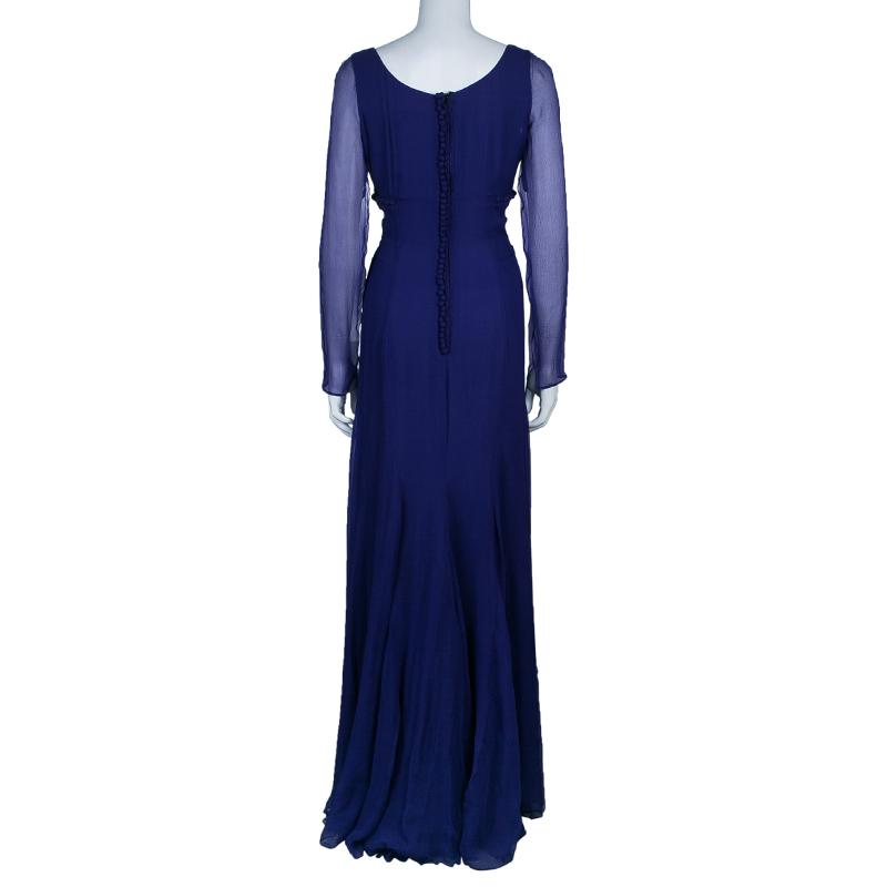 Saint Laurent Paris Purple Long Sleeve Gown M