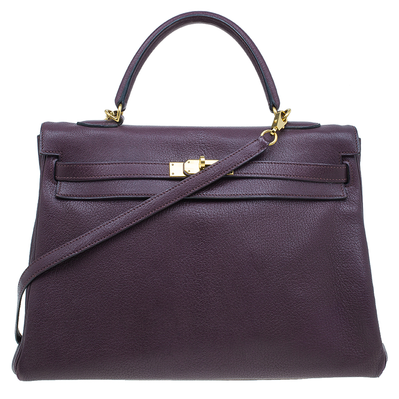 Hermes Purple Leather Palladium Hardware Kelly 35