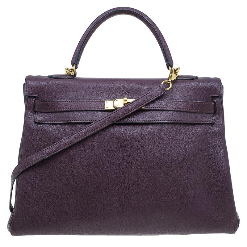 Hermes Purple Leather Palladium Hardware Kelly 35